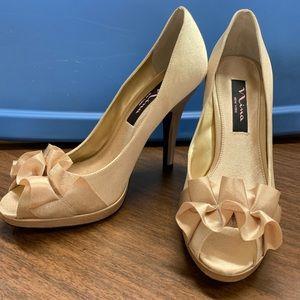 {NINA} Gold Ruffle Shoes